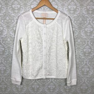 NWOT SKIES ARE BLUE Ivory Crochet Button Jacket